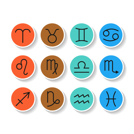 predicting: Signs of zodiac, flat colored icons for horoscope and predictions. Vector illustration Illustration