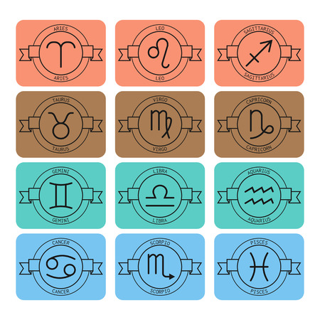 predictions: Signs of the zodiac for horoscope and predictions. Linear vector Illustration