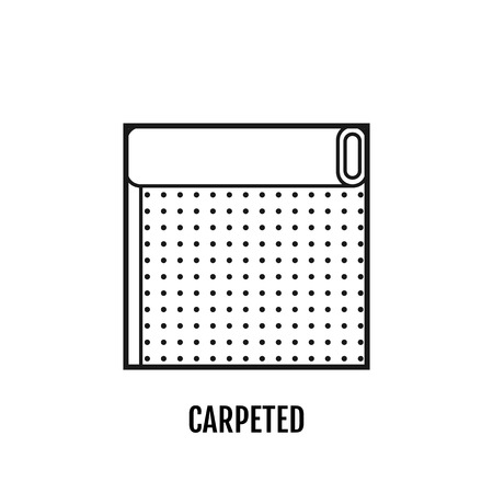 floor mat: Flat icon of carpeted. Finishing materials and floor coverings. Vector illustration
