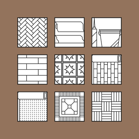 flooring: Types of flooring. Flat icons, objects of laminate, parquet, carpets and other building materials. Vector illustration