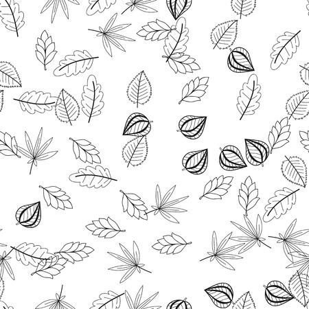 Black and white floral seamless pattern with leaves.