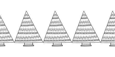 black and white: Black and white seamless pattern with Christmas trees for coloring