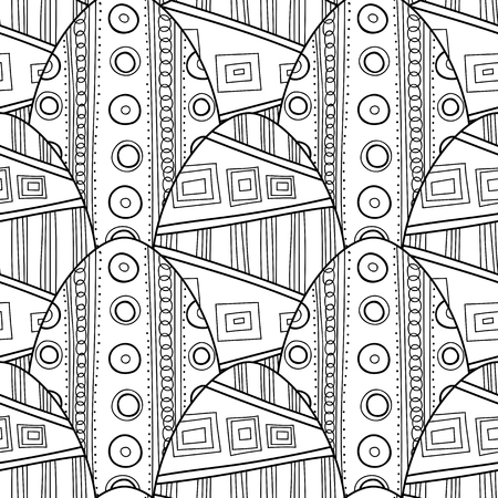 black and white: Black, white seamless pattern of decorative eggs for coloring page. Illustration