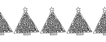 coloration: Black and white seamless pattern with Christmas trees for coloring