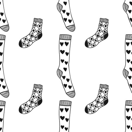 hosiery: Black, white pattern of doddle socks for colored book Illustration