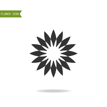 floristry: Black flat silhouette, object of flower for logo isolated on white background.