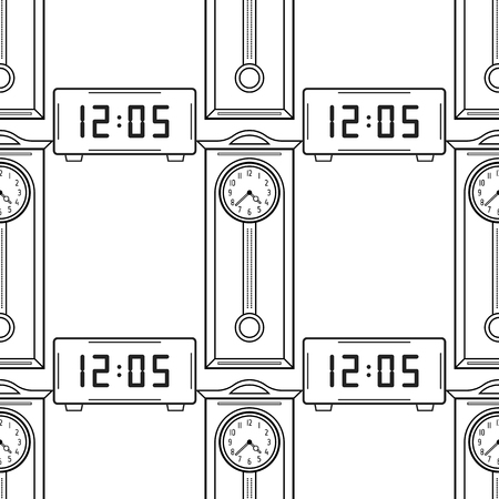 Electronic Watch And Grandfather Clock Seamless Pattern For Coloring ...