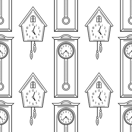 Cuckoo clock and grandfather clock, flat linear objects. Black and white seamless pattern for coloring book, page. Illustration