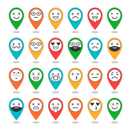 Icone piatte colorate di emoticon sui perni. Sorriso con una barba, emozioni diverse, stati d'animo. Vettore