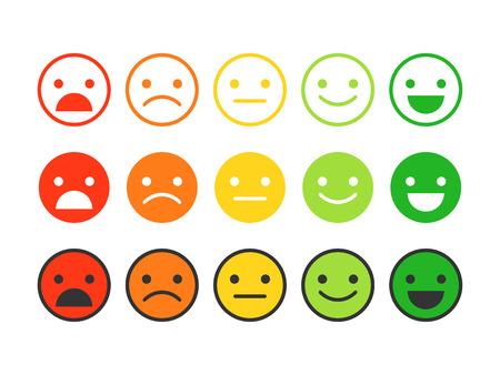 Color plano iconos de emoticones. Diferentes emociones, estados de ánimo. Ilustración de vector
