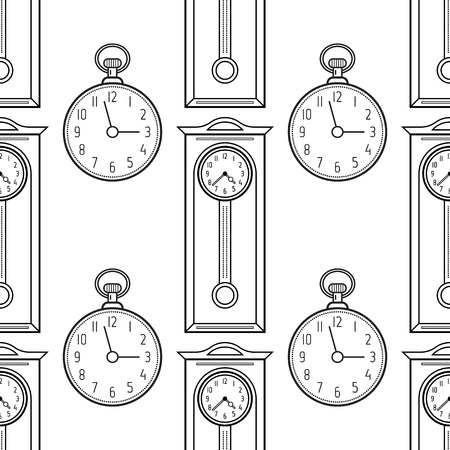 Pocket watches and grandfather clock, flat linear objects. Black and white seamless pattern for coloring book, page.