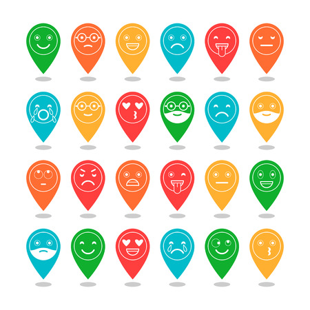 Colored flat icons of emoticons. Smile with a beard, different emotions, moods. Vector