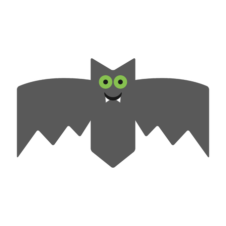 fang: Smiling, cheerful bat. Emotional vampire, the character for Halloween. Vector illustration