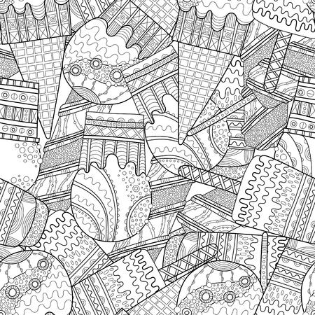 Ice cream, dessert. Black and white illustration for coloring book. Seamless decorative pattern. Vector Ilustração