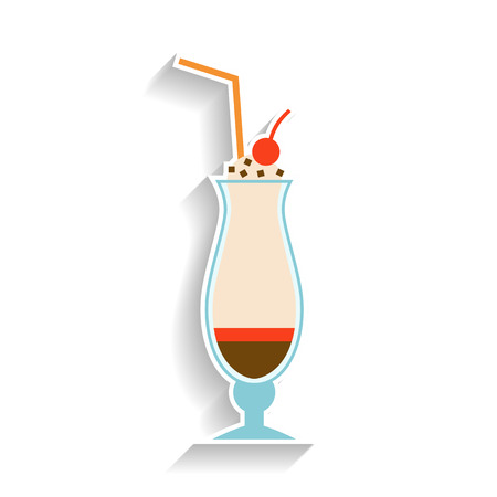 Milkshake with chocolate, whipped cream and a cherry. Flat color icon, object of fast food and snack.