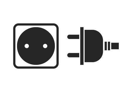 mounting holes: Socket and plug. Flat icon, black silhouette of the device of electricity.