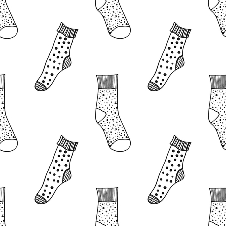 hosiery: Decorative doodle socks. Black and white seamless pattern for coloring book, pages