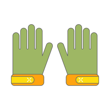 Protective gloves, working clothes. Flat color icon, object for design.