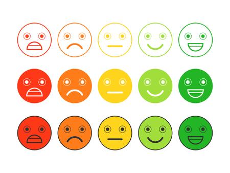 Icone piatte colorate di emoticon. Diverse emozioni, stati d'animo.