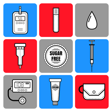 diabetes syringe: Test strip, drop of blood, syringe and glucose meter. Diabetes. Flat icons and objects of medical equipment. Illustration