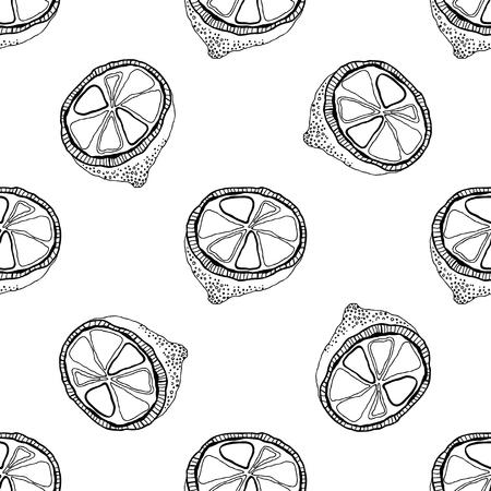 Dibujado A Mano Ilustración Vectorial De Limón. Contorno Y Versión ...