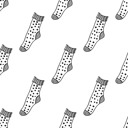 hosiery: Decorative doodle socks. Black and white seamless pattern for coloring book, pages.