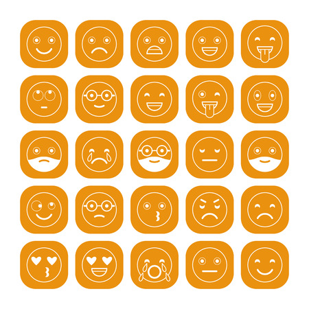 White linear flat icons of emoticons on orange background. Smile with a beard, different emotions, moods. Illustration