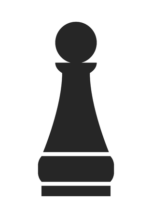 brain illustration: Pawn. Flat black icon, object of chess pieces. Vector illustration.