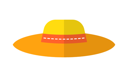 Sun hat, protective clothing. Flat color icon, object of fashion accessory.