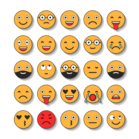 Coloridos iconos planos de emoticonos. Sonríe con una barba, diferentes emociones, estados de ánimo.
