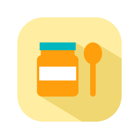 Jar with a spoon, food for first feeding. Flat color icon things for the newborn baby. Vector illustration Illustration
