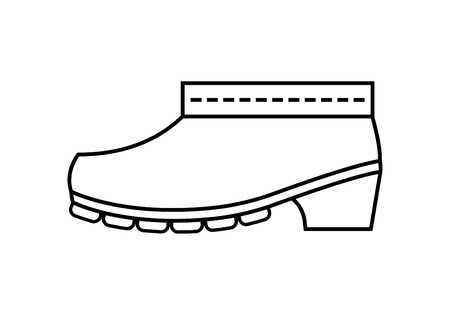 Rubber boots, protective shoes. Flat linear icon or object of clothing to design.