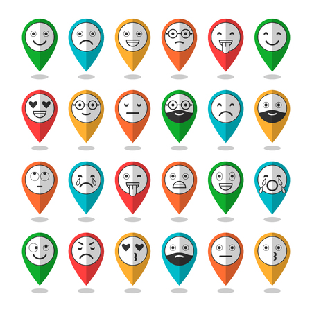 Icônes de plats colorés d'émoticônes. Souriez avec une barbe, des émotions différentes, des humeurs. Illustration vectorielle Banque d'images - 77607511