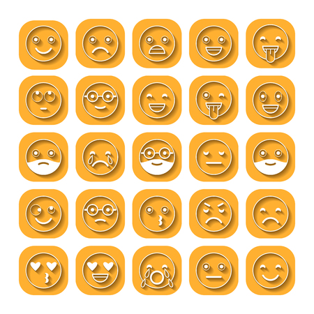 moods: Colored flat icons of emoticons. Smile with a beard, different emotions, moods.