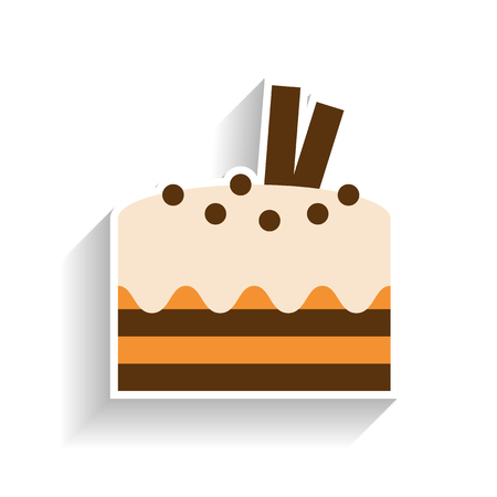 Chocolate sponge cake with whipped cream. Flat color icon, object of fast food and snack.
