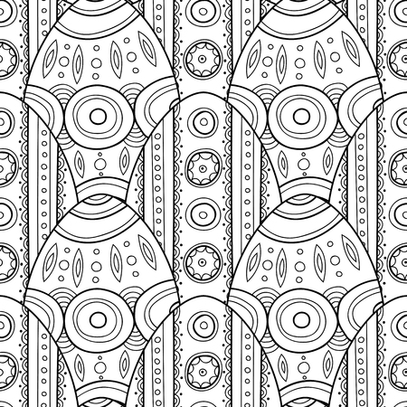 Decorative Easter eggs. Black and white seamless pattern coloring book, page.