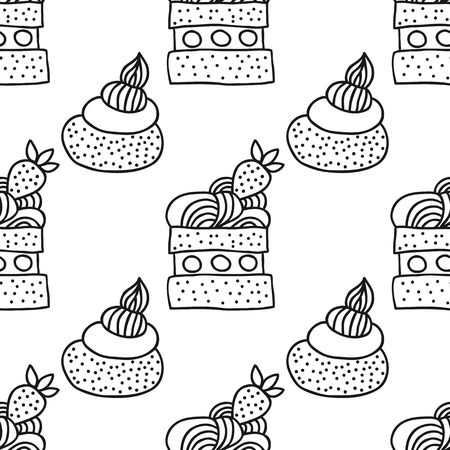 cupcake illustration: Sweet dessert illustration. Black and white seamless pattern with cakes for coloring books, pages