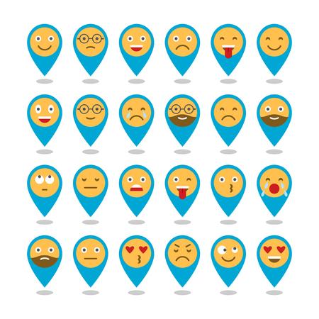 Coloridos iconos planos de emoticonos. Sonríe con una barba, diferentes emociones, estados de ánimo. Ilustración del vector