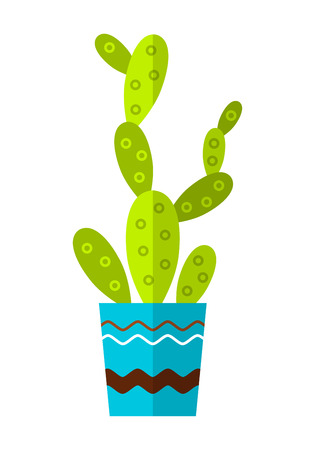 Cactus, succulent. Flat color icon, illustration of potted plant isolated on white background. Object Illustration