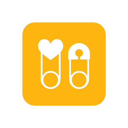mammy: Children safety pin. Flat color icon. Baby items for newborns. Illustration