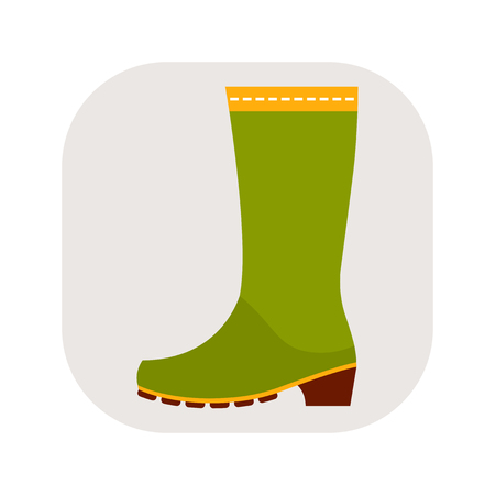 dirty clothes: Rubber boots, protective shoes. Flat color icon or object of clothing to design.
