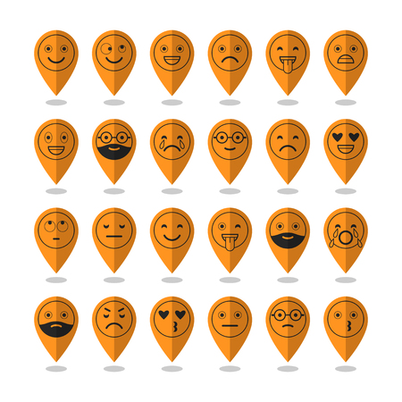 Emoticons. Flat icons. Smile with a beard, different emotions and moods.