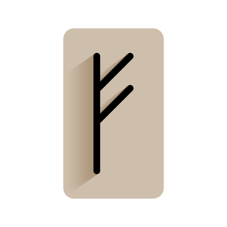 germanic people: Fehu. Runic alphabet and letters. Flat icon on white background for divination, prediction. Vector