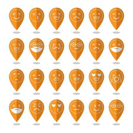 Icônes plates colorées d'émoticônes. Souriez avec une barbe, différentes émotions, humeurs. Banque d'images - 80475850