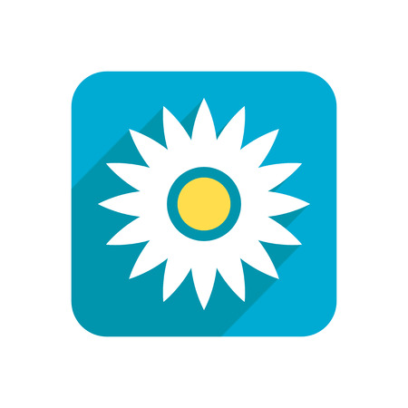 petal: Flower, colored flat icon on a white background for design, logo. Vector