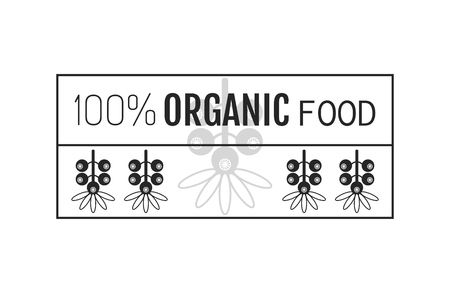 round logo: Organic food. Logo, badge, label for healthy eating with berry icon, silhouette. Vector illustration