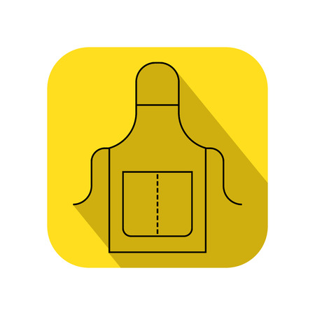 Apron, working and protective clothing for the kitchen and garden. Flat icon. Object for design Illustration