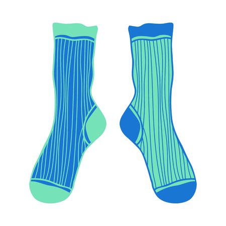 Doodle paar gekleurde sokken. Illustratie en object voor ontwerp.