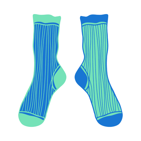 Doodle pair colored socks. Illustration and object for design. Иллюстрация