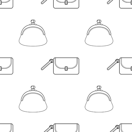 Black and white seamless illustration, pattern of fashion bags for coloring book.